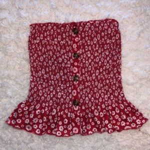 Rue 21 Red Flowy Tube Top W/ White Flowers